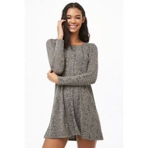 Dark Grey Marled Ribbed Fit and Flare Swing Dress